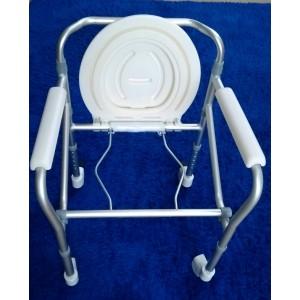 Cadeira de Banho Dobrável em Alumínio com Rodízios